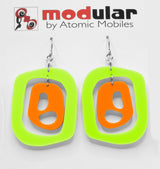 MODular Earrings - Mid 20th Statement Earrings in Lime and Orange by AtomicMobiles.com - retro era mod handmade jewelry