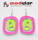 MODular Earrings - Mid 20th Statement Earrings in Hot Pink and Lime by AtomicMobiles.com - retro era mod handmade jewelry