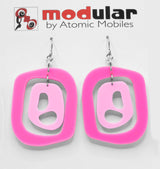 MODular Earrings - Mid 20th Statement Earrings in Hot Pink by AtomicMobiles.com - retro era mod handmade jewelry