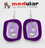 MODular Earrings - Mid 20th Statement Earrings in Purple by AtomicMobiles.com - retro era mod handmade jewelry