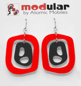 MODular Earrings - Mid 20th Statement Earrings in Red and Black by AtomicMobiles.com - retro era mod handmade jewelry