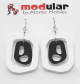 MODular Earrings - Mid 20th Statement Earrings in White and Black by AtomicMobiles.com - retro era mod handmade jewelry