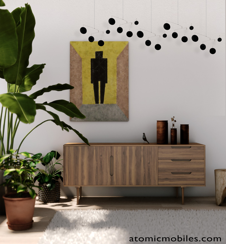 Cool modern Atomic Mobile in black with credenza and plants by AtomicMobiles.com