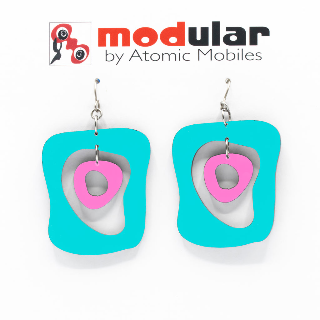 MODular Earrings - Mid Mod Statement Earrings in Aqua and Hot Pink by AtomicMobiles.com - mid century inspired modern art dangle earrings
