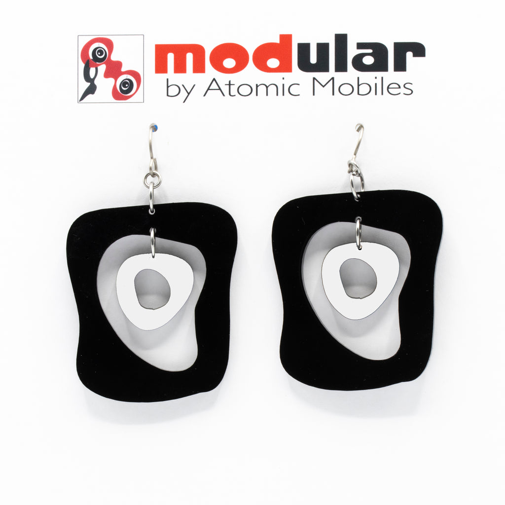 MODular Earrings - Mid Mod Statement Earrings in Black and White by AtomicMobiles.com - mid century inspired modern art dangle earrings