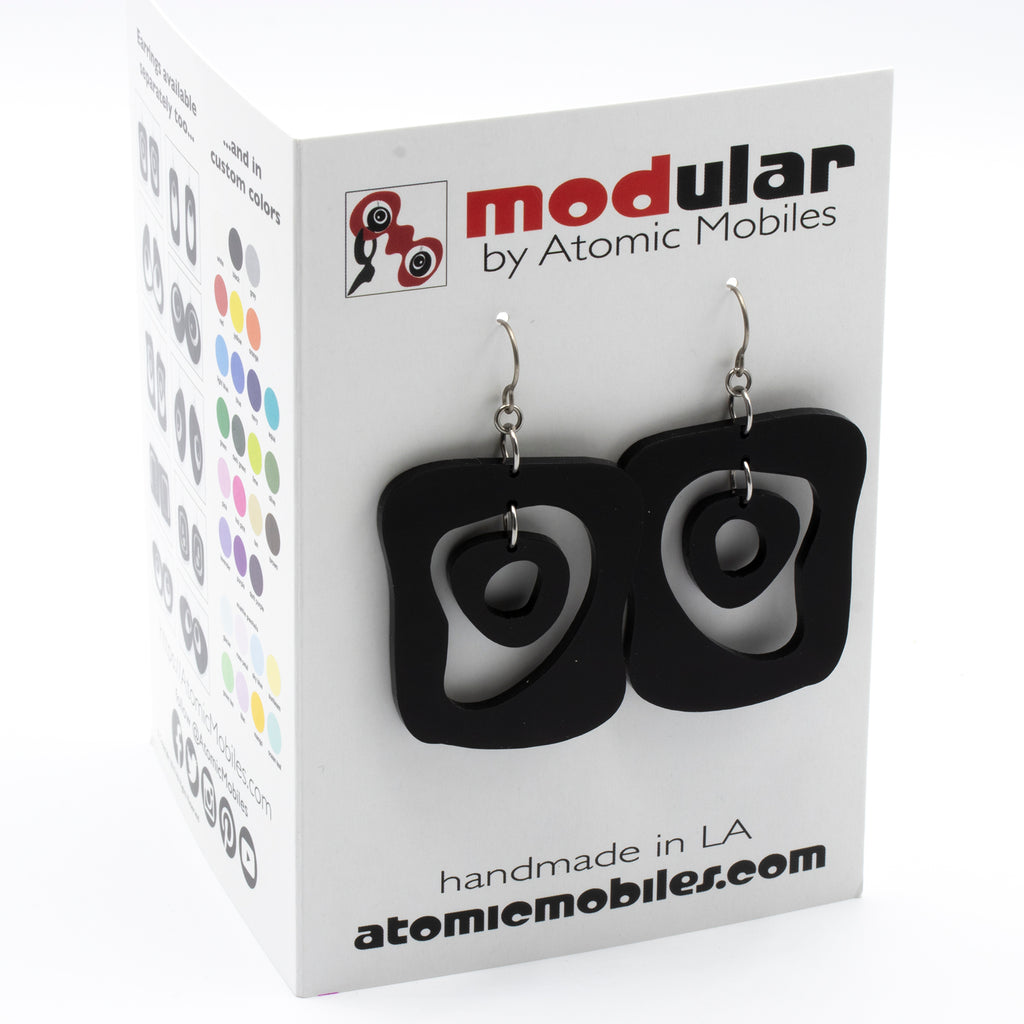 MODular Earrings Card - Mid Mod Statement Earrings by AtomicMobiles.com - mid century inspired modern art dangle earrings