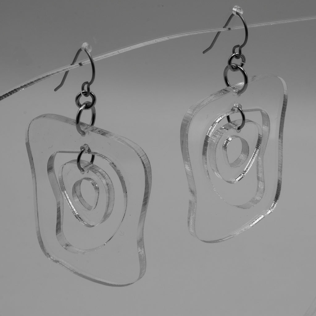 MODular Earrings - Mid Mod Statement Earrings in Clear Acrylic by AtomicMobiles.com - mid century inspired modern art dangle earrings