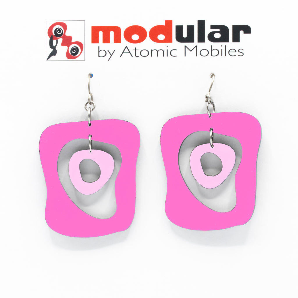 MODular Earrings - Mid Mod Statement Earrings in Hot Pink by AtomicMobiles.com - mid century inspired modern art dangle earrings