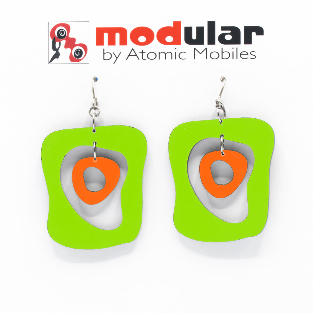 MODular Earrings - Mid Mod Statement Earrings in Lime and Orange by AtomicMobiles.com - mid century inspired modern art dangle earrings