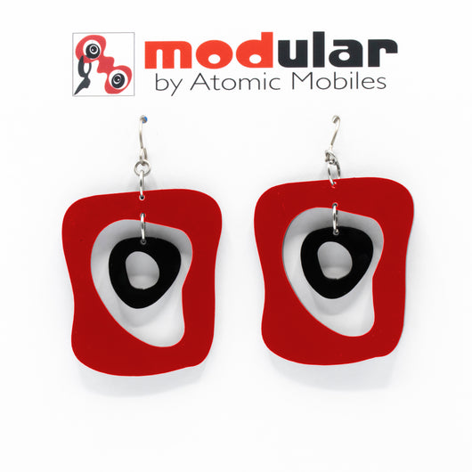 MODular Earrings - Mid Mod Statement Earrings in Red and Black by AtomicMobiles.com - mid century inspired modern art dangle earrings