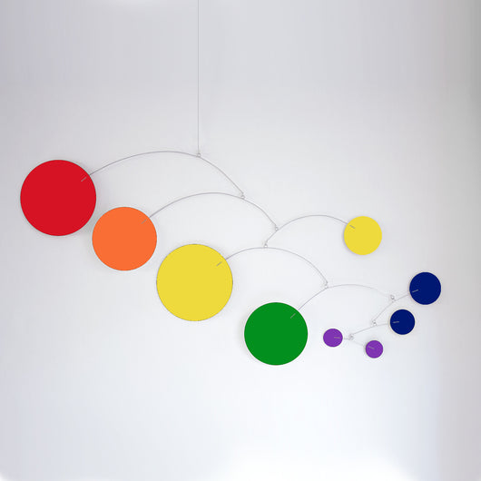 LGBT Pride Mod Hanging Art Mobiles in Rainbow Flag Colors by AtomicMobiles.com