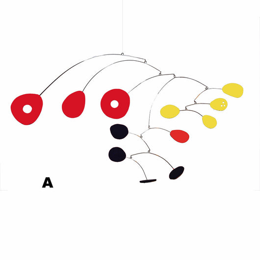 Hanging Art Mobile - red yellow and black - by Atomic Mobiles