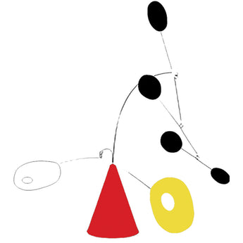 The Strobile Modern Art Sculpture - Black Red White Yellow - by AtomicMobiles.com