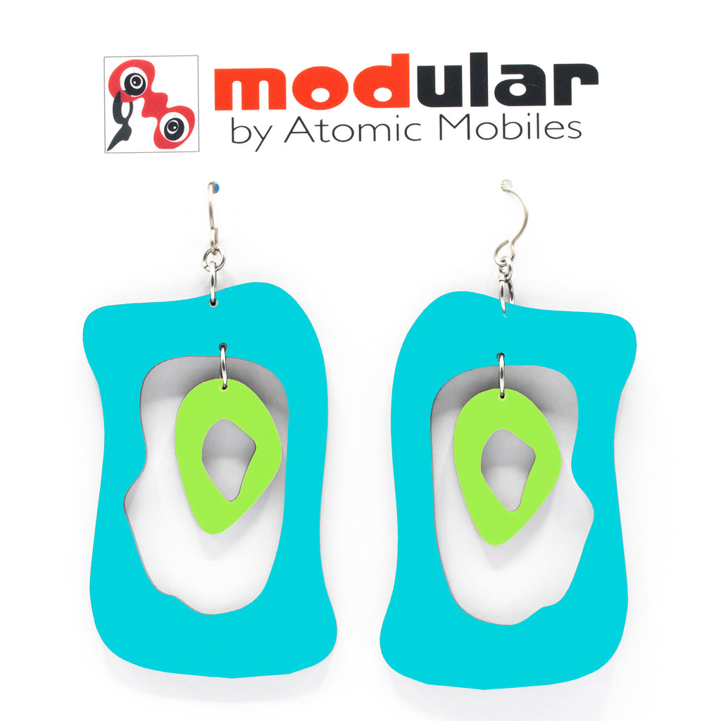 MODular Earrings - Modern Bliss Statement Earrings in Aqua and Lime by AtomicMobiles.com - retro era inspired mod handmade jewelry