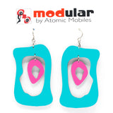 MODular Earrings - Modern Bliss Statement Earrings in Aqua and Hot Pink by AtomicMobiles.com - retro era inspired mod handmade jewelry