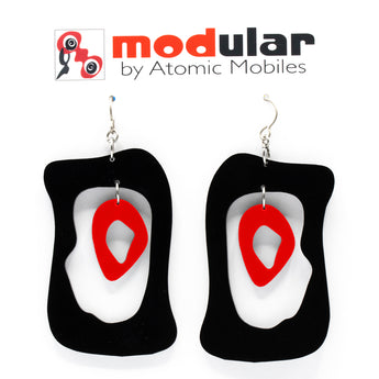 MODular Earrings - Modern Bliss Statement Earrings in Black and Red by AtomicMobiles.com - retro era inspired mod handmade jewelry
