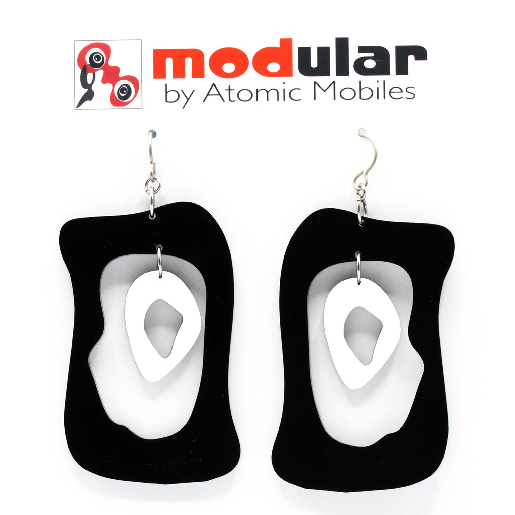 MODular Earrings - Modern Bliss Statement Earrings in Black and White by AtomicMobiles.com - retro era inspired mod handmade jewelry
