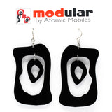 MODular Earrings - Modern Bliss Statement Earrings in Black by AtomicMobiles.com - retro era inspired mod handmade jewelry