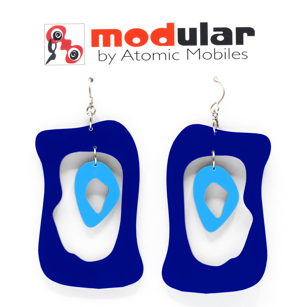 MODular Earrings - Modern Bliss Statement Earrings in Navy Blue by AtomicMobiles.com - retro era inspired mod handmade jewelry
