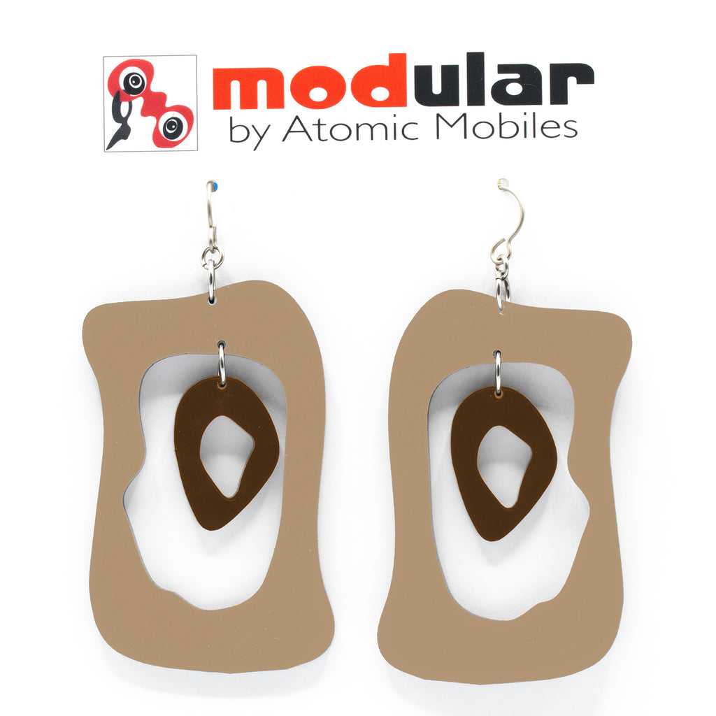 MODular Earrings - Modern Bliss Statement Earrings in Beige Tan and Brown by AtomicMobiles.com - retro era inspired mod handmade jewelry