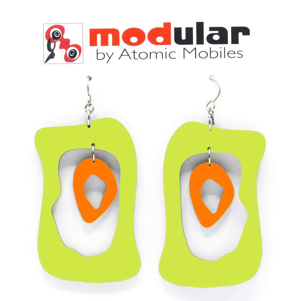 MODular Earrings - Modern Bliss Statement Earrings in Lime and Orange by AtomicMobiles.com - retro era inspired mod handmade jewelry