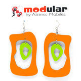 MODular Earrings - Modern Bliss Statement Earrings in Orange and Lime by AtomicMobiles.com - retro era inspired mod handmade jewelry