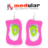 MODular Earrings - Modern Bliss Statement Earrings in Hot Pink and Lime by AtomicMobiles.com - retro era inspired mod handmade jewelry