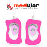MODular Earrings - Modern Bliss Statement Earrings in Hot Pink by AtomicMobiles.com - retro era inspired mod handmade jewelry