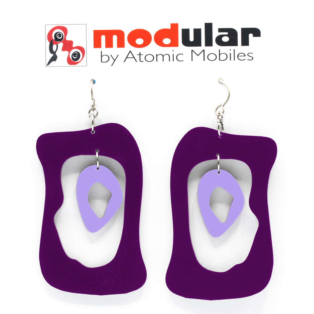 MODular Earrings - Modern Bliss Statement Earrings in Purple by AtomicMobiles.com - retro era inspired mod handmade jewelry