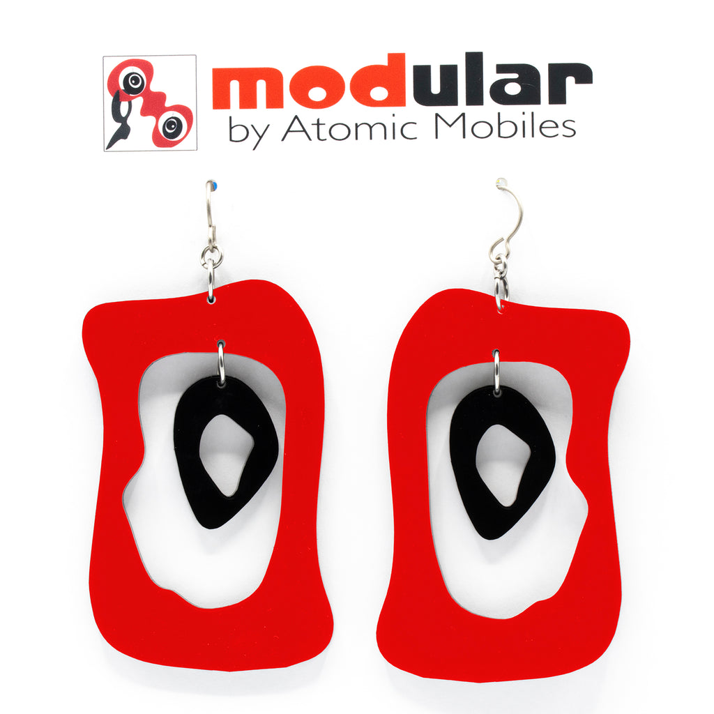 MODular Earrings - Modern Bliss Statement Earrings in Red and Black by AtomicMobiles.com - retro era inspired mod handmade jewelry