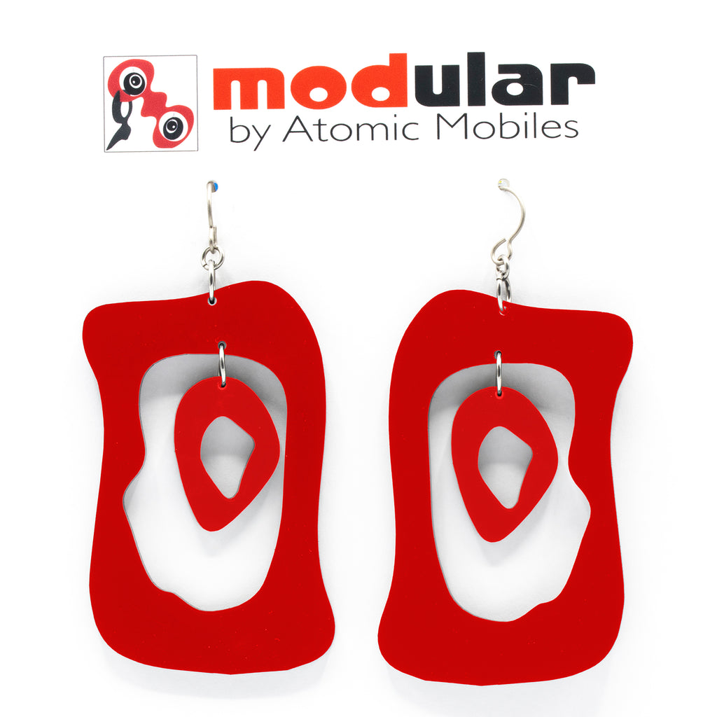 MODular Earrings - Modern Bliss Statement Earrings in Red by AtomicMobiles.com - retro era inspired mod handmade jewelry