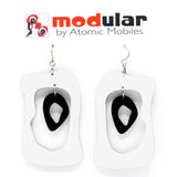 MODular Earrings - Modern Bliss Statement Earrings in White and Black by AtomicMobiles.com - retro era inspired mod handmade jewelry