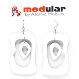 MODular Earrings - Modern Bliss Statement Earrings in White by AtomicMobiles.com - retro era inspired mod handmade jewelry