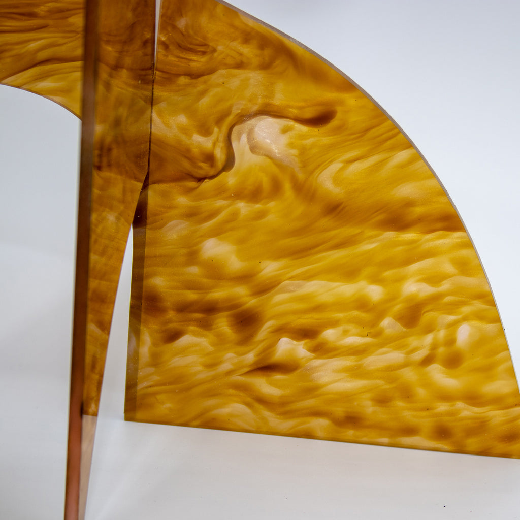 Moderne Exotics Stabile - beautiful marbled gold closeup of base - table top mobiles by AtomicMobiles.com