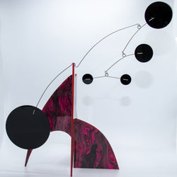 Moderne Exotics Stabile - red gray black - table top mobiles by AtomicMobiles.com