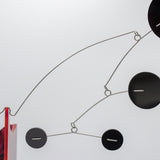 Moderne Exotics Stabile closeup circles - red gray black - table top mobiles by AtomicMobiles.com