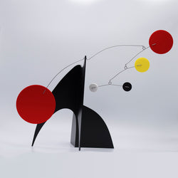 The Moderne Kinetic Art Stabile Sculpture by AtomicMobiles.com - black, red, white, yellow