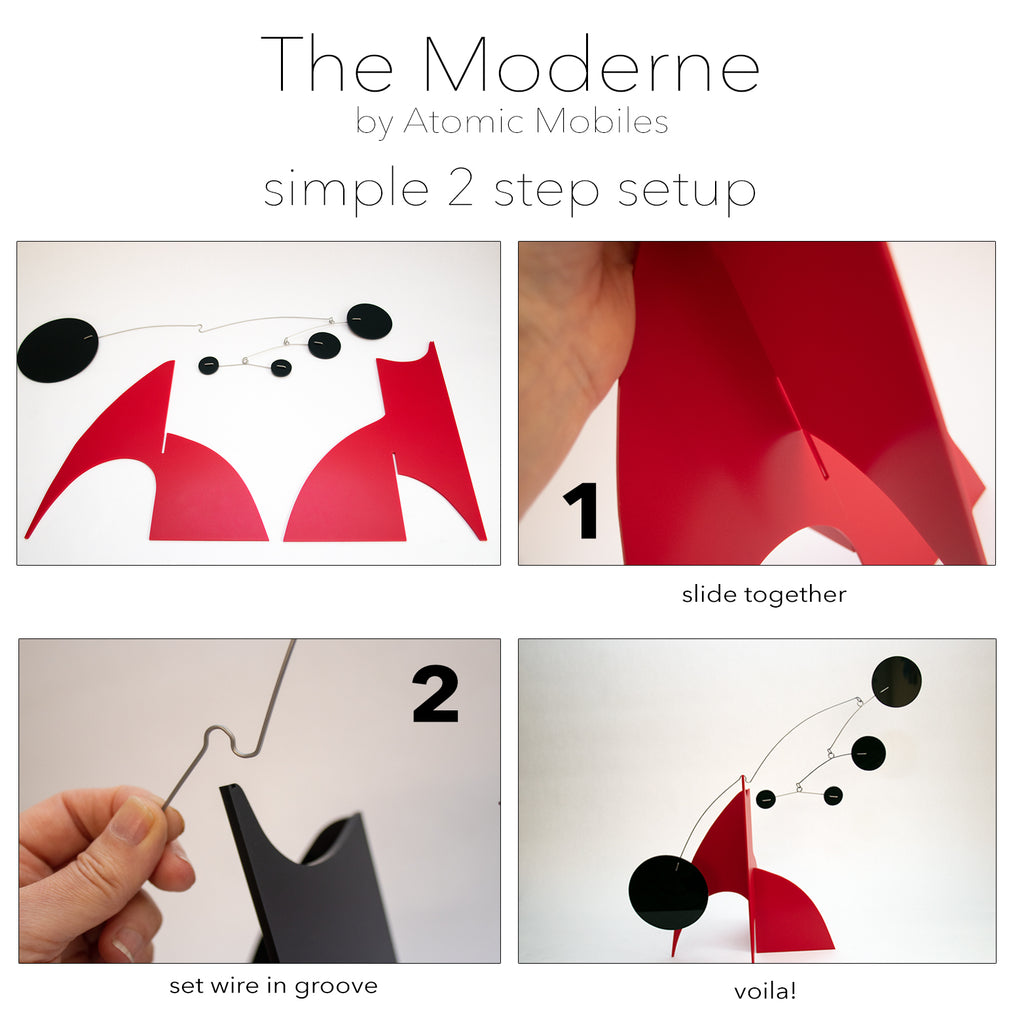 The Moderne Art Stabile Simple 2-Step Setup Instructions - by AtomicMobiles.com