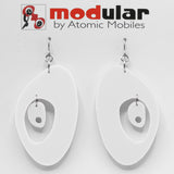 MODular Earrings - Modernist Statement Earrings in White by AtomicMobiles.com - retro era inspired mod handmade jewelry