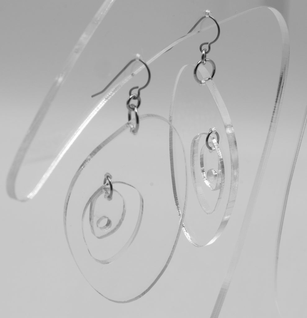 MODular Earrings - The Modernist Statement Earrings in Clear Acrylic by AtomicMobiles.com - retro era inspired mod handmade jewelry