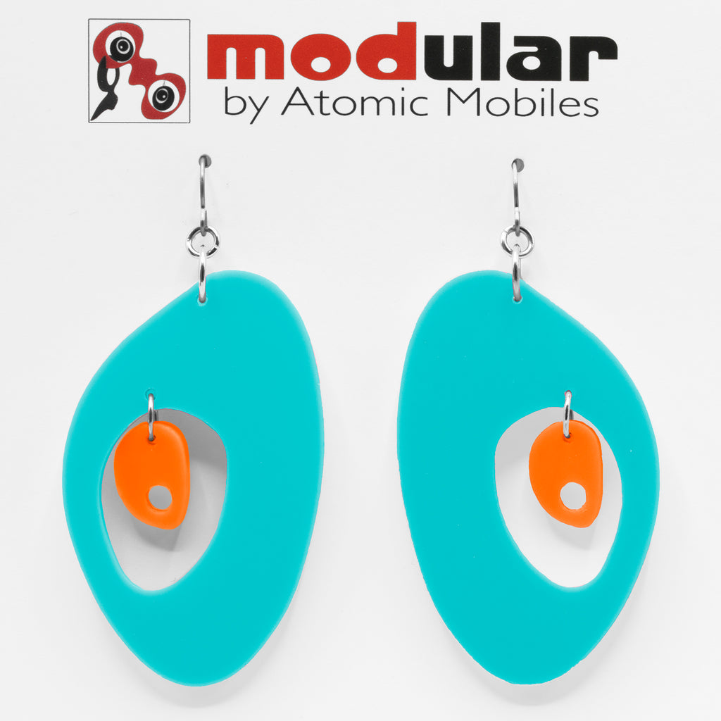 MODular Earrings - The Modernist Statement Earrings in Aqua and Orange by AtomicMobiles.com - retro era inspired mod handmade jewelry