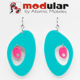 MODular Earrings - The Modernist Statement Earrings in Aqua and Hot Pink by AtomicMobiles.com - retro era inspired mod handmade jewelry
