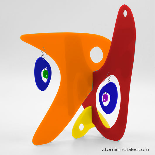LGBTQ Rainbow Pride Modernist Tabletop Sculpture + Earrings in Orange by AtomicMobiles.com