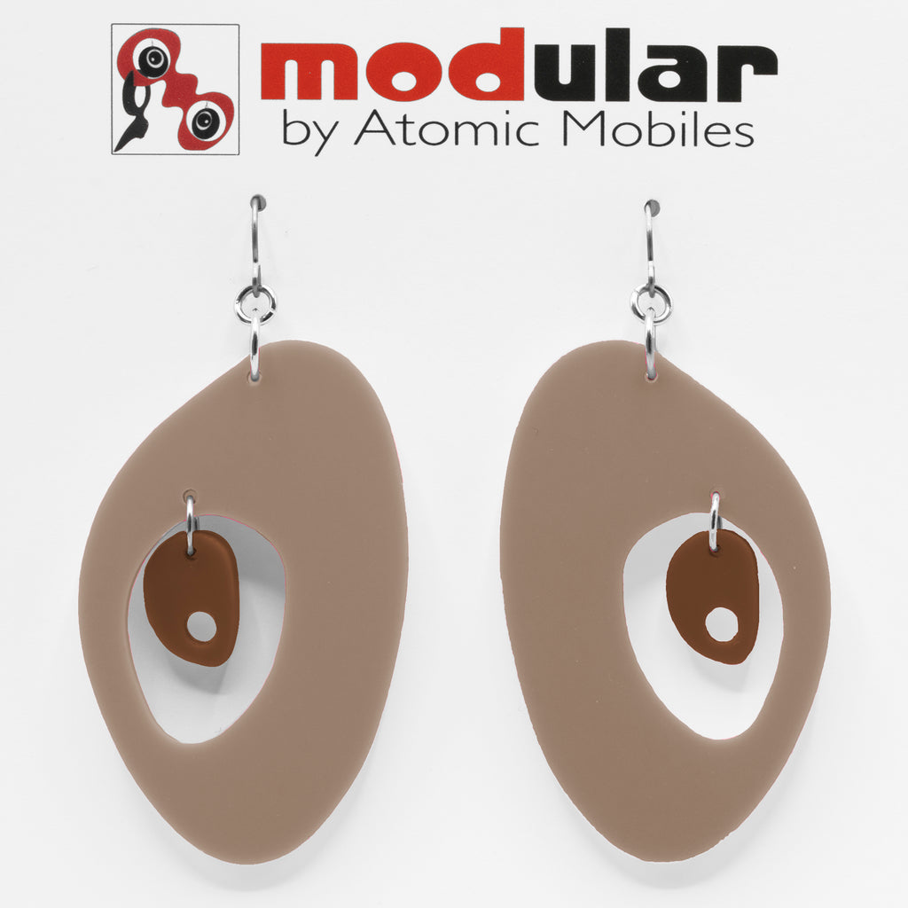 MODular Earrings - The Modernist Statement Earrings in Beige Tan and Brown by AtomicMobiles.com - retro era inspired mod handmade jewelry