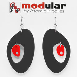 MODular Earrings - The Modernist Statement Earrings in Black and Red by AtomicMobiles.com - retro era inspired mod handmade jewelry