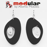 MODular Earrings - The Modernist Statement Earrings in Black and White by AtomicMobiles.com - retro era inspired mod handmade jewelry