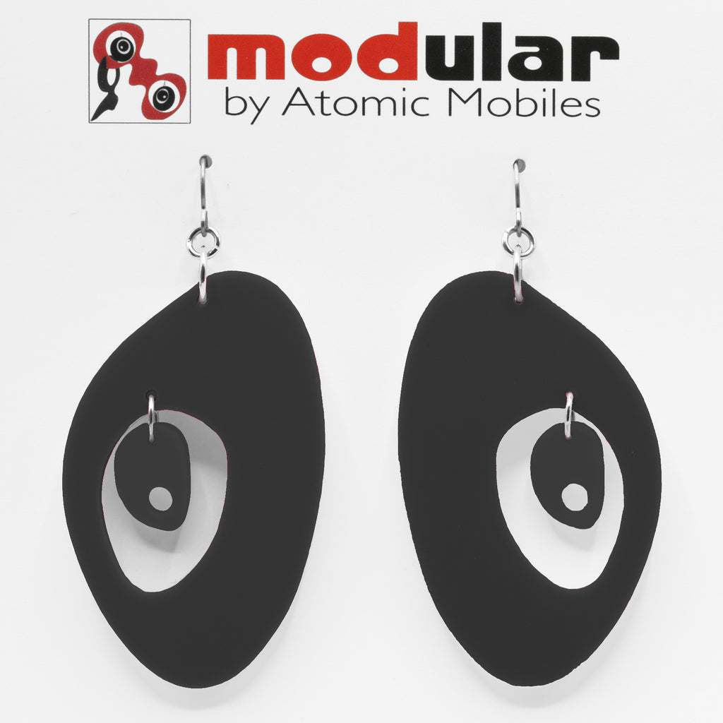 MODular Earrings - The Modernist Statement Earrings in Black by AtomicMobiles.com - retro era inspired mod handmade jewelry