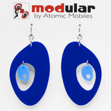 MODular Earrings - The Modernist Statement Earrings in Navy Blue by AtomicMobiles.com - retro era inspired mod handmade jewelry