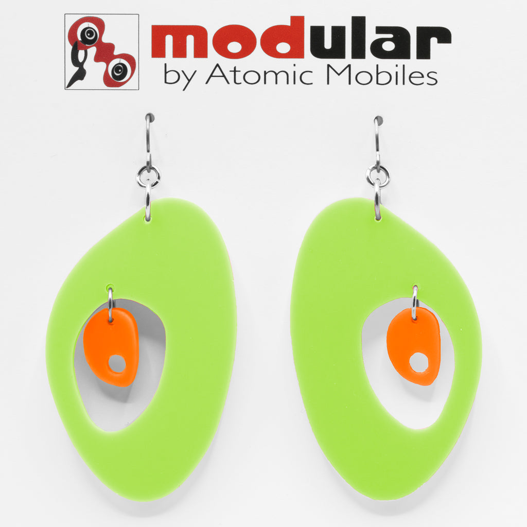MODular Earrings - The Modernist Statement Earrings in Lime and Orange by AtomicMobiles.com - retro era inspired mod handmade jewelry