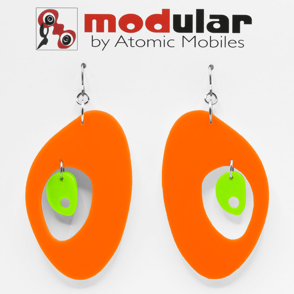 MODular Earrings - The Modernist Statement Earrings in Orange and Lime by AtomicMobiles.com - retro era inspired mod handmade jewelry